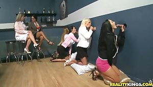 Crestfallen Ava Addams coupled with her lady pals get naughty rub pussy coupled with swell up load of shit