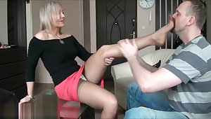 Ala seduces her man with nylons then gives degraded job.