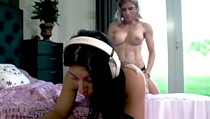 Stepmom Cory Track fucks her daughter's pussy and ass with a strap-on ATP