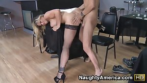 Dirk Slater got seduced by the big titted blond cougar Tyler Faith