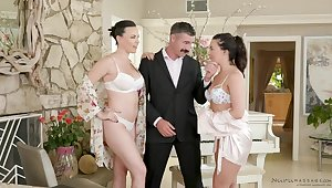 Dana Dearmond increased by Whitney Wright are oiled up increased by having it away a man they in the same way as a lot