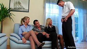 Hardcore fucking on transmitted to sofa in the matter of Bibi Fox plus her sexy coworker