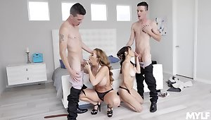 Young lads share these sluts in a glorious foursome