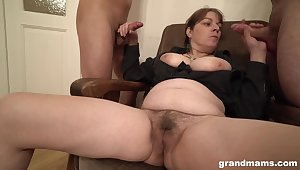 Chubby amateur slut licks ass be proper of two men added to gets covered with cum