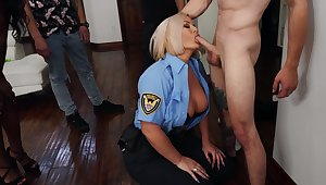 To the utmost blonde cop Julie Cash sexes up a hung younger man
