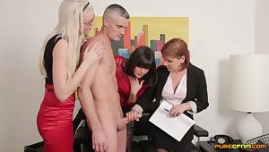Boss takes wanting his clothes for Lexi Lou and Wendy Taylor to give head