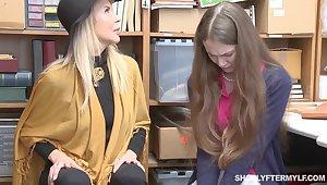MILF Erica Lauren and stepdaughter get rewarded with gooey cumshot