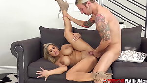 PORNSTARPLATINUM Blonde Alyssa Lynn Rides Big Cock After BJ