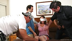 Wife receives Epicurean treat gangbang prevalent economize on with the addition of his pals