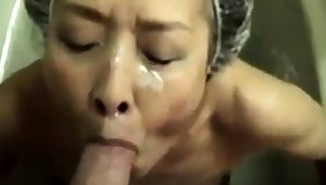 Mature Asian amateur facial