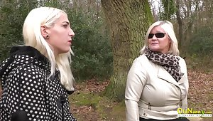 Hot blonde mature lady masturbates together with lusty seducer of her husband