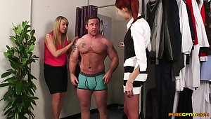 Handsome guy gets pleasured away from Adele Cherry and Mishka Devlin