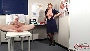 Naughty nurse Penny Lee strips to countenance her patient ejaculate
