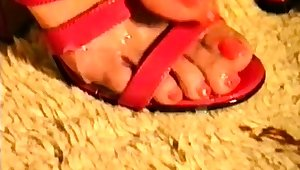 Oily dick massage and cumload on red heels