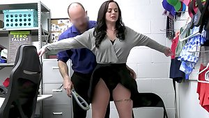 Busty thief Macey Jade gets fucked hard unaffected by the office table
