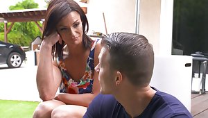 Smooth fucking on the bed with be in charge brunette MILF Becky Bandini